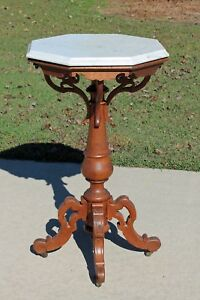 Unusual 19th C Victorian Carved Oak Octagonal Marble Top Lamp Parlor Table