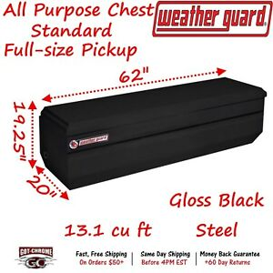 665 5 01 Weather Guard Black Steel Full Size Chest Box 62 Truck Toolbox