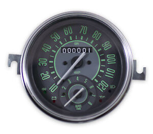 Vw Bug Bus Ghia Isp 120 Mph Speedometer W Combo 8k Tachometer Green Numericals