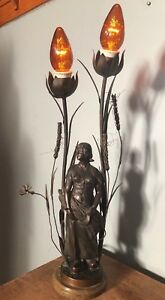 Antique Art Nouveau Bronze Woman Lady Lamp Wheat Harvest Sickle French Dutch