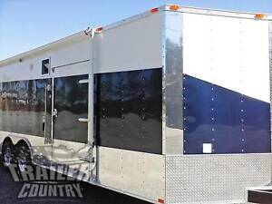 New 2019 8 5 X 24 V nose Enclosed Cargo Car Hauler Trailer Loaded Race Package 3