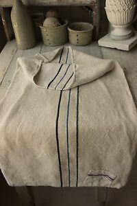Grain Sack Hemp Linen Grainsack Black Blue Stripes Patched Timeworn Textile Old