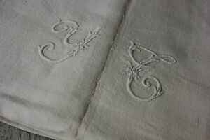 Antique French Linen Sheet With White Monogram Circa 1880 S Textile 82x110in