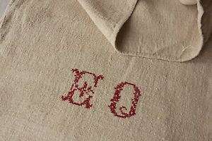 Grain Sack Eo Monogram Antique Homespun Plain Linen Hemp Fabric Bag Textile