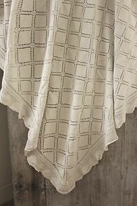 Coverlet Crocheted Lace Antique French Bedcover Handmade Cotton 58x71in Textile