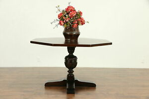 English Tudor Octagon Antique Oak Game Breakfast Foyer Hall Lamp Table 30505