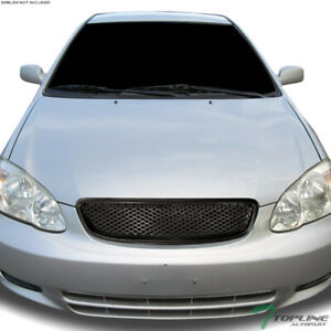 Topline For 2003 2004 Toyota Corolla Tr Mesh Front Hood Bumper Grill Grille Blk
