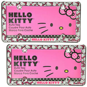 New 2pc Set Sanrio Hello Kitty Car Truck Suv Universal Fit License Plate Frames