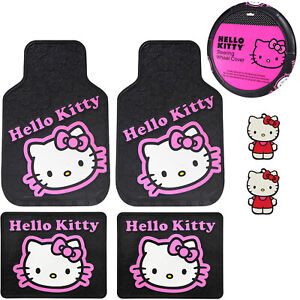 Sanrio Hello Kitty Pink Car Truck Floor Mats Steering Wheel Cover Air Freshener