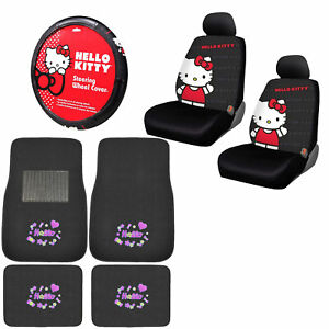 Sanrio Hello Kitty Pink Car Truck Floor Mats Steering Wheel Cover