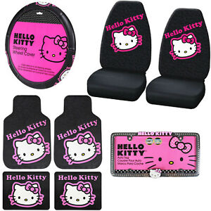 8pc Sanrio Hello Kitty Pink Car Floor Mats Steering Wheel Cover