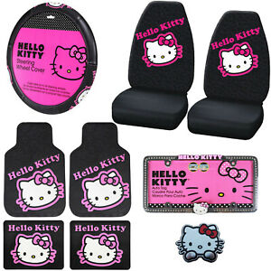 9pc Sanrio Hello Kitty Pink Car Floor Mats Steering Wheel Cover Seat Covers Set