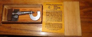 Vintage L s Starrett Micrometer No 219 In Wood Storage Box With Instructions