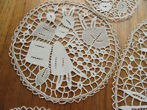 Figural Lace Circles Runners Coasters Doilies Rabbits Round Handmade