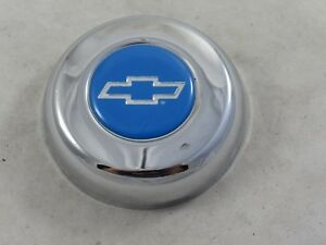 Grant Chevy Blue Bowtie Chrome Horn Button