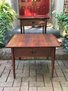 Pair Of Vintage Danish Style End Or Lamp Tables By Bassett Furniture