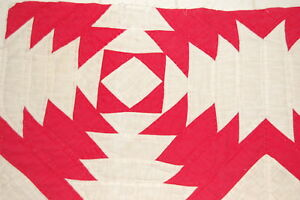 Red White Pineapple Vintage Quilt Piece