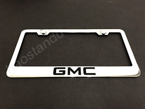 1x Gmc Stainless Steel License Plate Frame Screw Caps