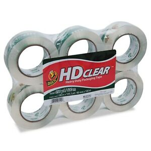 Duck Heavy duty Carton Packaging Tape 1 88 Inches X 110 Yards Clear 6 pack