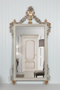 Vintage Mirror Neoclassical Style Carved Wood Refurbished White Gold
