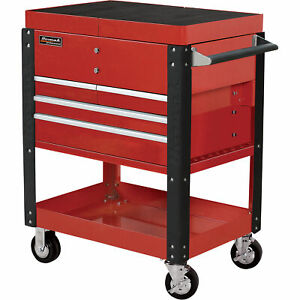Homak Pro Series Service Cart With Sliding Top Panels 35in Red