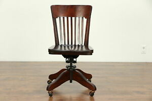 Oak Birch Antique Swivel Adjustable Office Or Library Desk Chair 30526