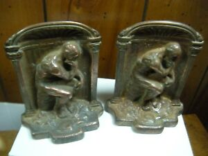 Pair Antique Art Deco Solid Bronze Rodin S The Thinker Bookends