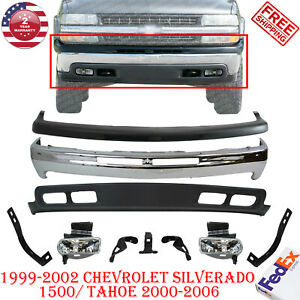 Front Bumper Kit Valance W Brackets Fog Lights For 99 04 Chevy Silverado Tahoe