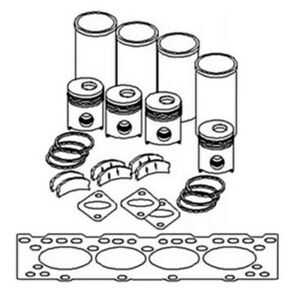 Ok256 New 4 Cyl Std Major Engine Overhaul Kit For Ford New Holland Tractor 5000