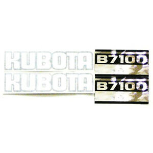 Black White Silver Tractor Hood Vinyl Decal Set For Kubota Tractor B7100