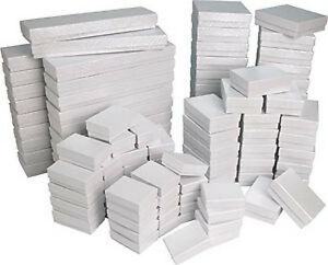100 Assorted Sizes White Swirl Cardboard Cotton Filled Jewelry Gift Boxes