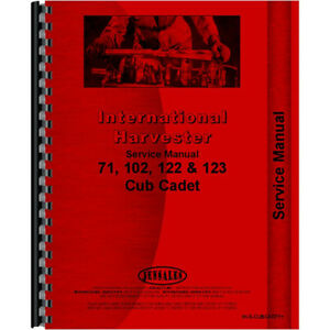 Tractor Service Manual For International Harvester Cub Cadet 71 Tractor