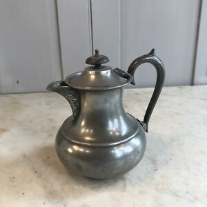 Antique Pewter Coffee Pot Or Lidded Jug