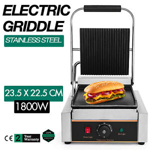 Commercial Electric Contact Press Grill Griddle Stainless Steel Flat Top Waffle