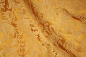 Curtain Antique French Golden Silk Damask Drape W Fringe Trim Shimmering Fabric