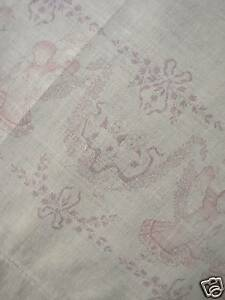 Vintage French Curtain Panel Art Deco Muslin Weight C1910 White Cotton Drape