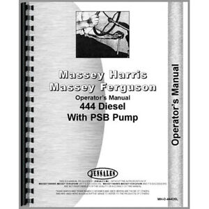 New Massey Harris Mh 444 Tractor Operators Manual w Psb Pump