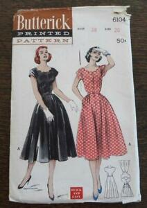 Vtg 50s Butterick 6104 Sewing Pattern Scallop Decolletage Dress Flare Skirt 20