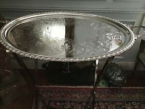 Large Antique Silver Plate Oval Tray With Butler S Stand Hallmarked