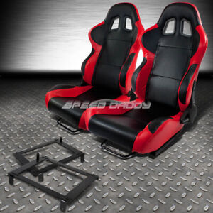 2 X Red Carbon Woven Cloth Racing Seat Low Mount Bracket For 02 06 Dc5 Acura Rsx