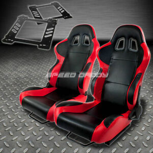 Pair Type 4 Reclining Black Red Woven Racing Seat Bracket For 92 99 Bmw E36 2 Dr