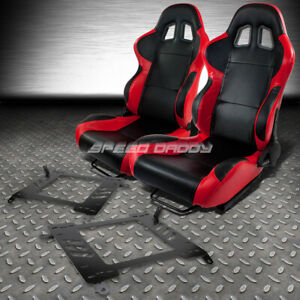 2 X Red carbon Woven Cloth Racing Seats bracket For 00 05 Toyota Celica T230 231