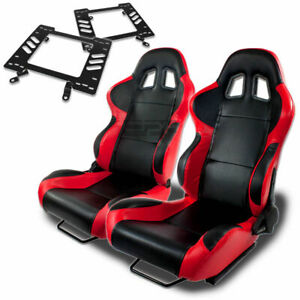 Type 4 Racing Seat Black Red Woven silder rail for 79 98 Ford Mustang Bracket X2