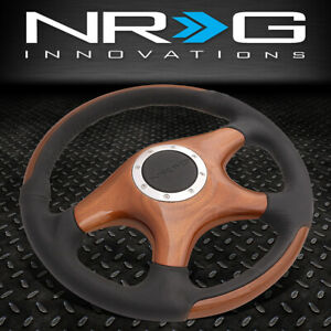 Nrg 350mm Glossy Wood Grain 4 Spokes Leather Grip Luxury Style Steering Wheel
