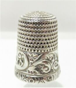 Antique Sterling Thimble Simons Bros Pa Ornate Floral Scroll Size 10 Vintage