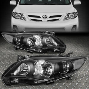 For 11 13 Toyota Corolla Sedan Black Housing Clear Corner Headlight Head Lamps