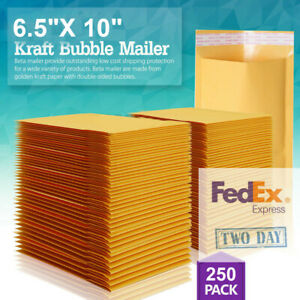 250 Pack 0 6 5x10 X Wide Kraft Bubble Mailers Padded Envelopes Bags Cd Dvd Usa