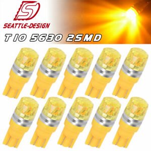 10x High Power Amber Yellow T10 5630 Led Backup Reserve Turn Signal Light Bulbs