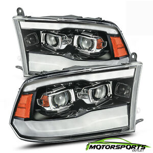 Fit 2009 2018 Dodge Ram1500 2500 3500 Polished Black Drl Projector Headlights