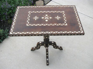 Vintage Ornate Wood Side Table End Table Inlaid Abalone Brass Wire Solid Turkey
